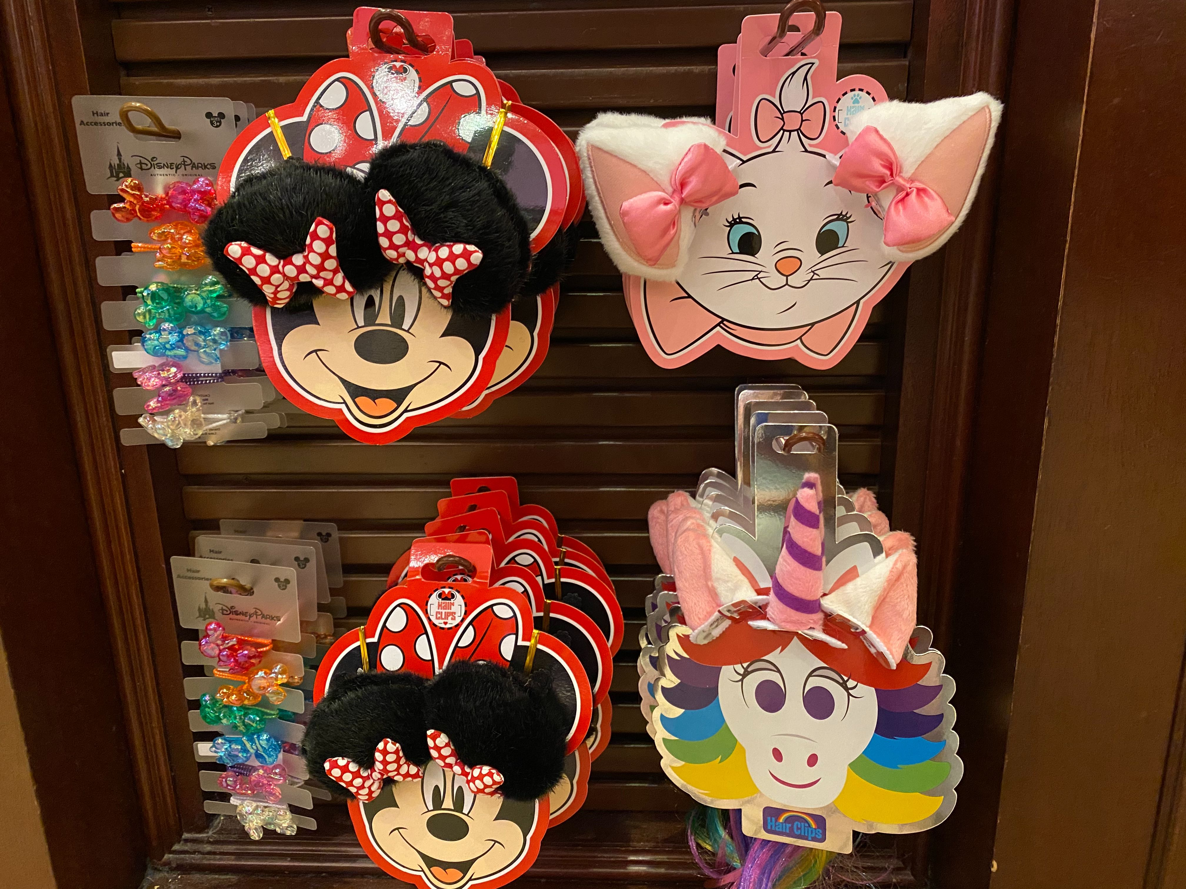 New Character Hair Clip Accessories (Minnie Mouse, Marie, Rainbow Unicorn) Arrive at Disneyland