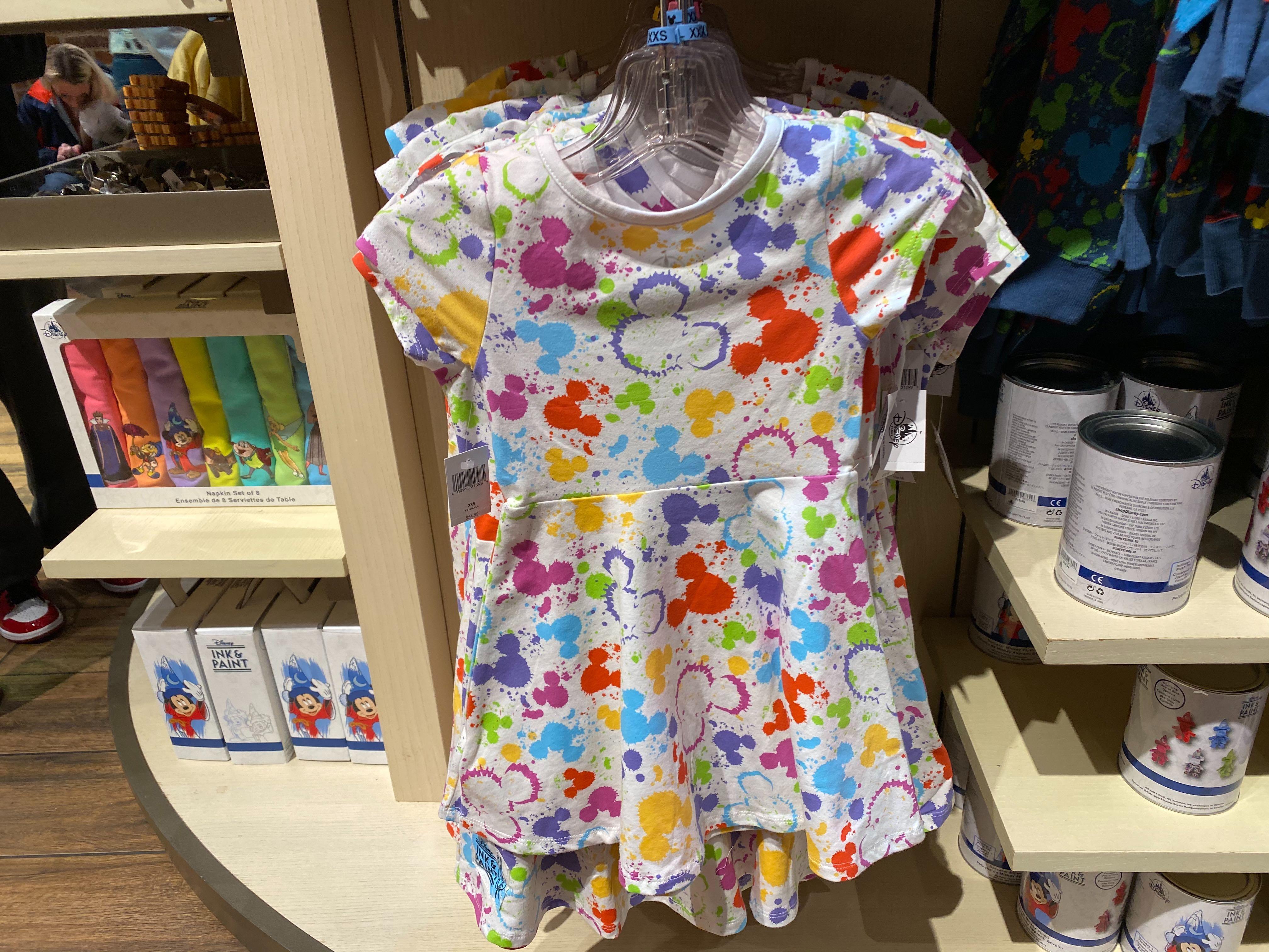Girls Rainbow Mickey Head Paint Splatter Dress - $34.99