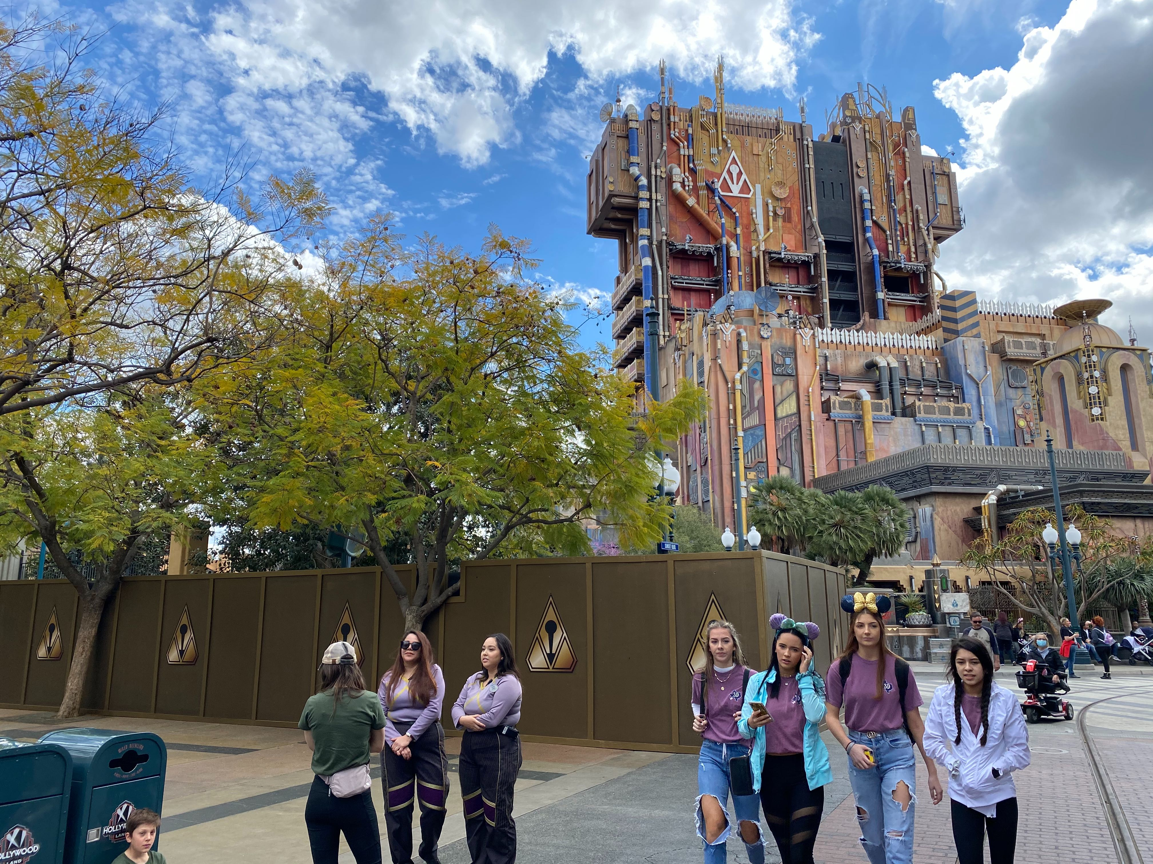 Construction Walls Go Up Outside of Guardians of the Galaxy - Mission: Breakout! at Disney California Adventure