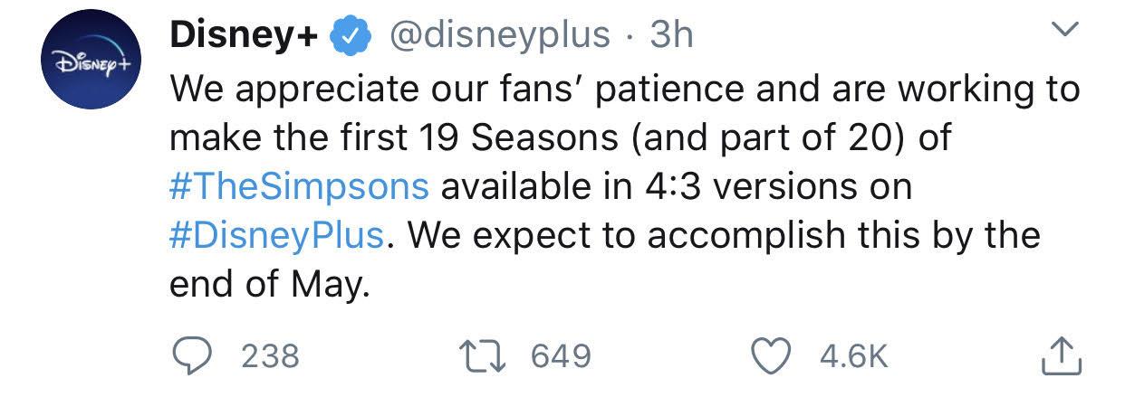 Disney+ Simpsons aspect ratio