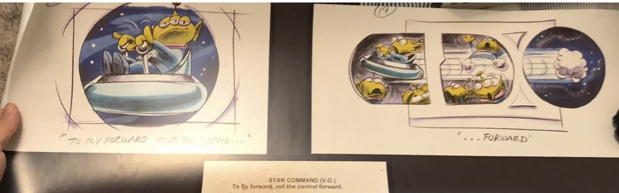 "Pre-show storyboards show the Little Green Men teaching guests how to ""fly"" their saucers."