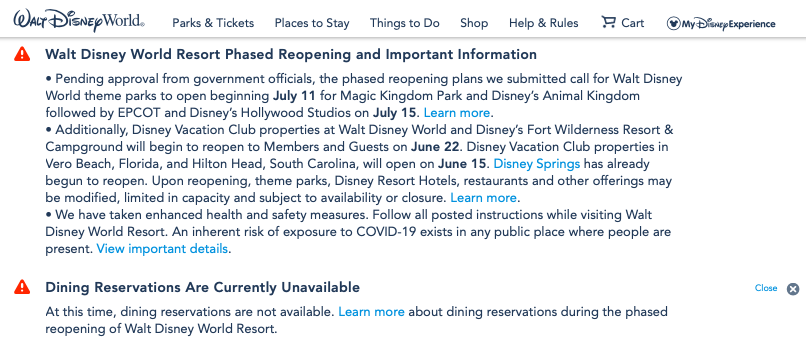 Walt Disney World Dining Reservations Currently Unavailable; Resort Reopening Dates Removed From Official Update