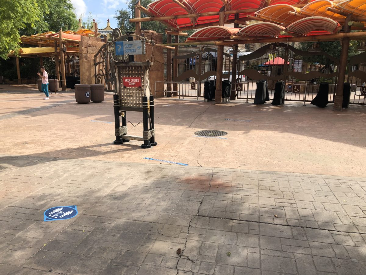 Entrance of Island of Adventure with Social Distancing Markers