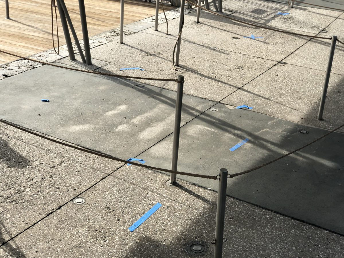 Tape markings for boat dock at CityWalk
