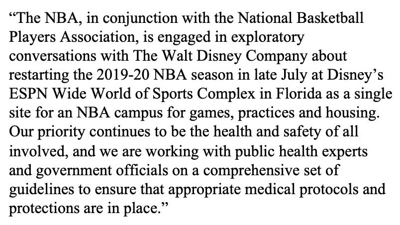 NBA Statement