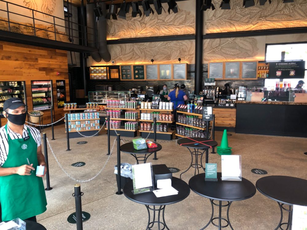 Starbucks at Disney Springs West Side Reopens with New Social Distance Procedures