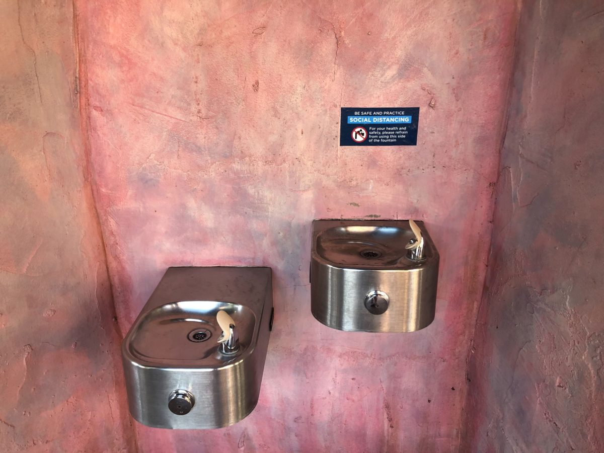 Water Fountain Marked for Social Distancing and Health and Safety