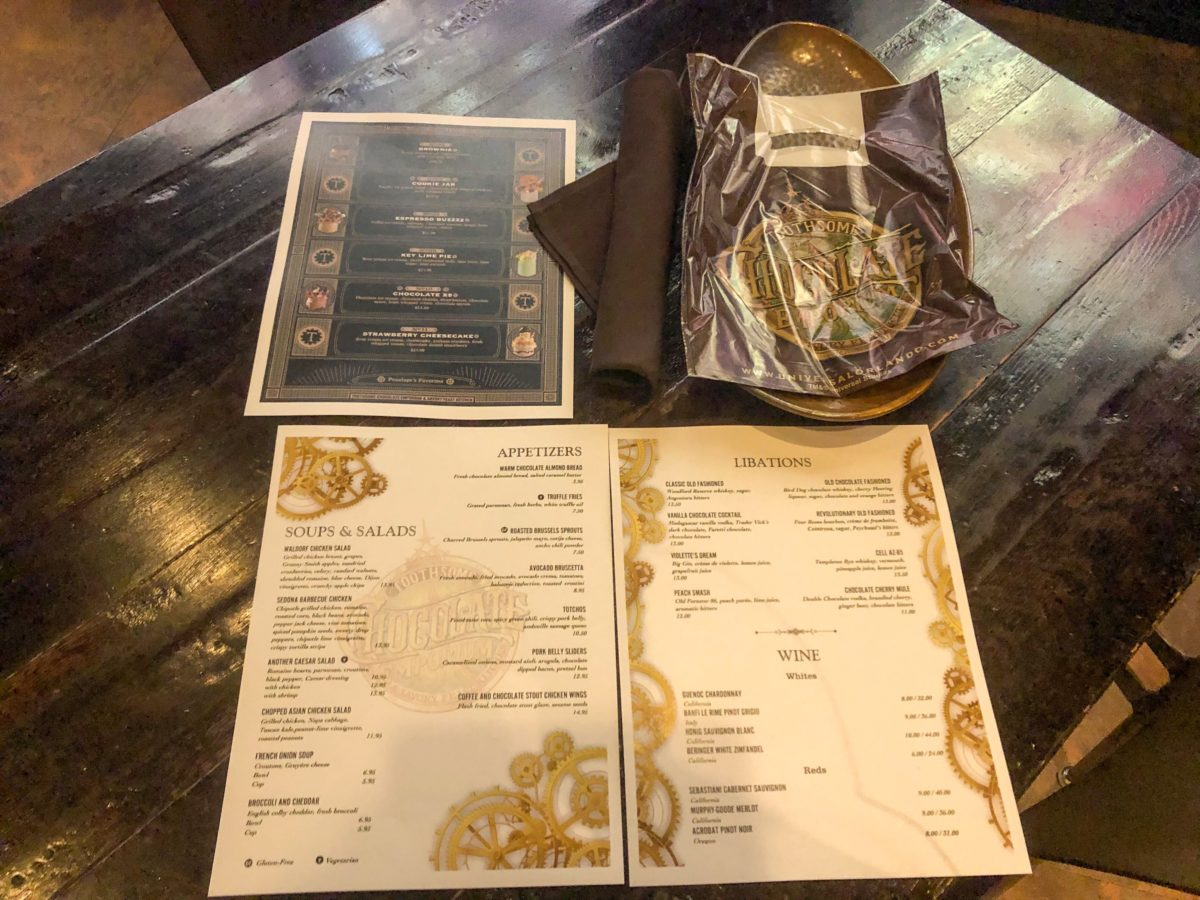toothsome menu and silverware