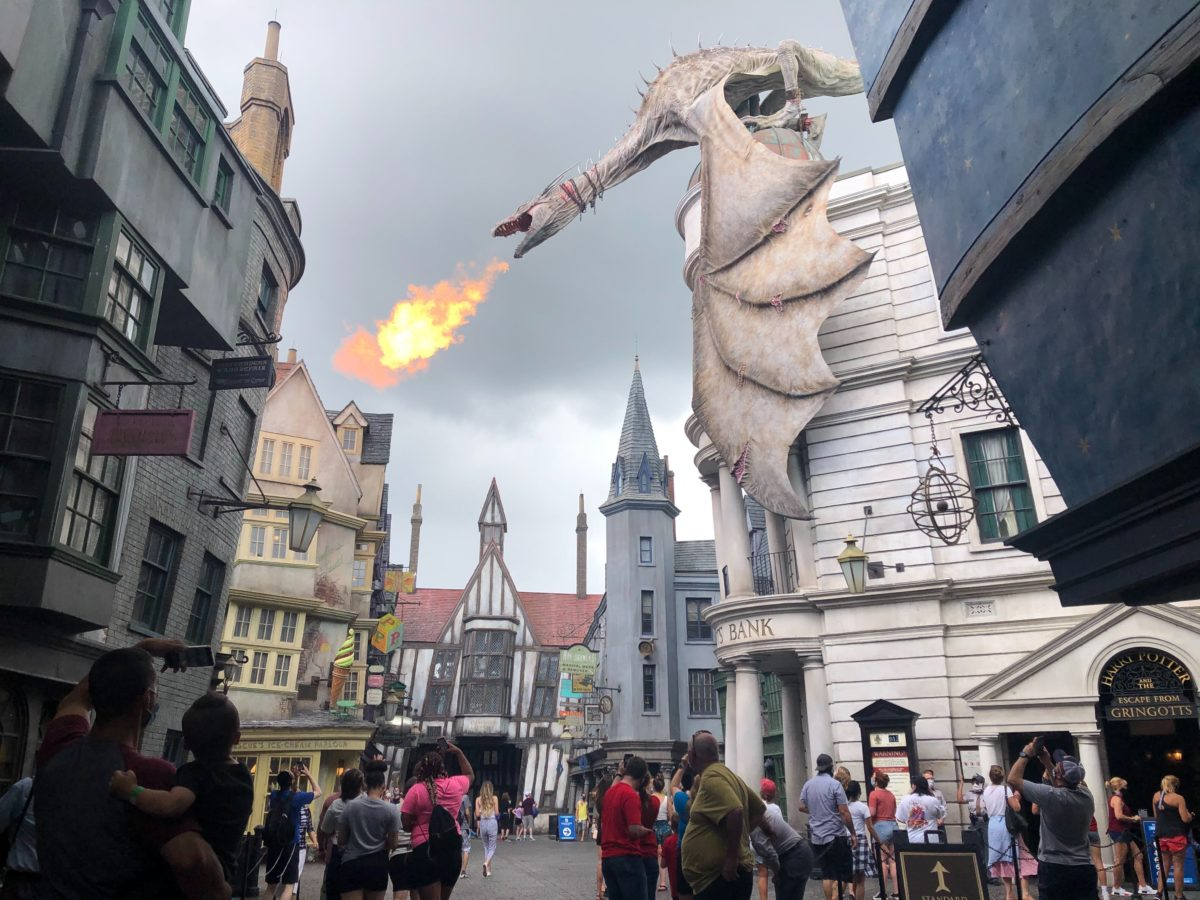 Dragon with fire at Gringotts