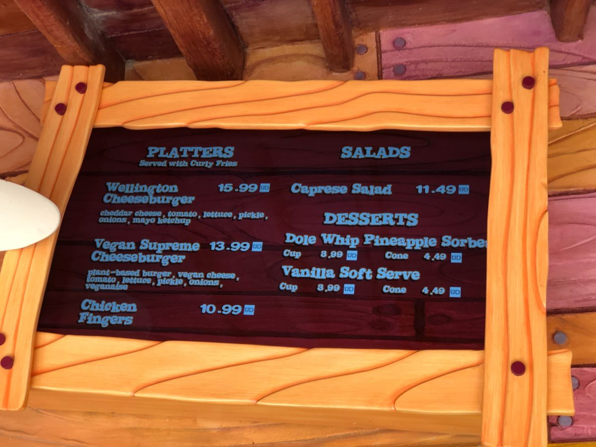 Wimpy's Menu Featuring Dole Whip at Islands of Adventure