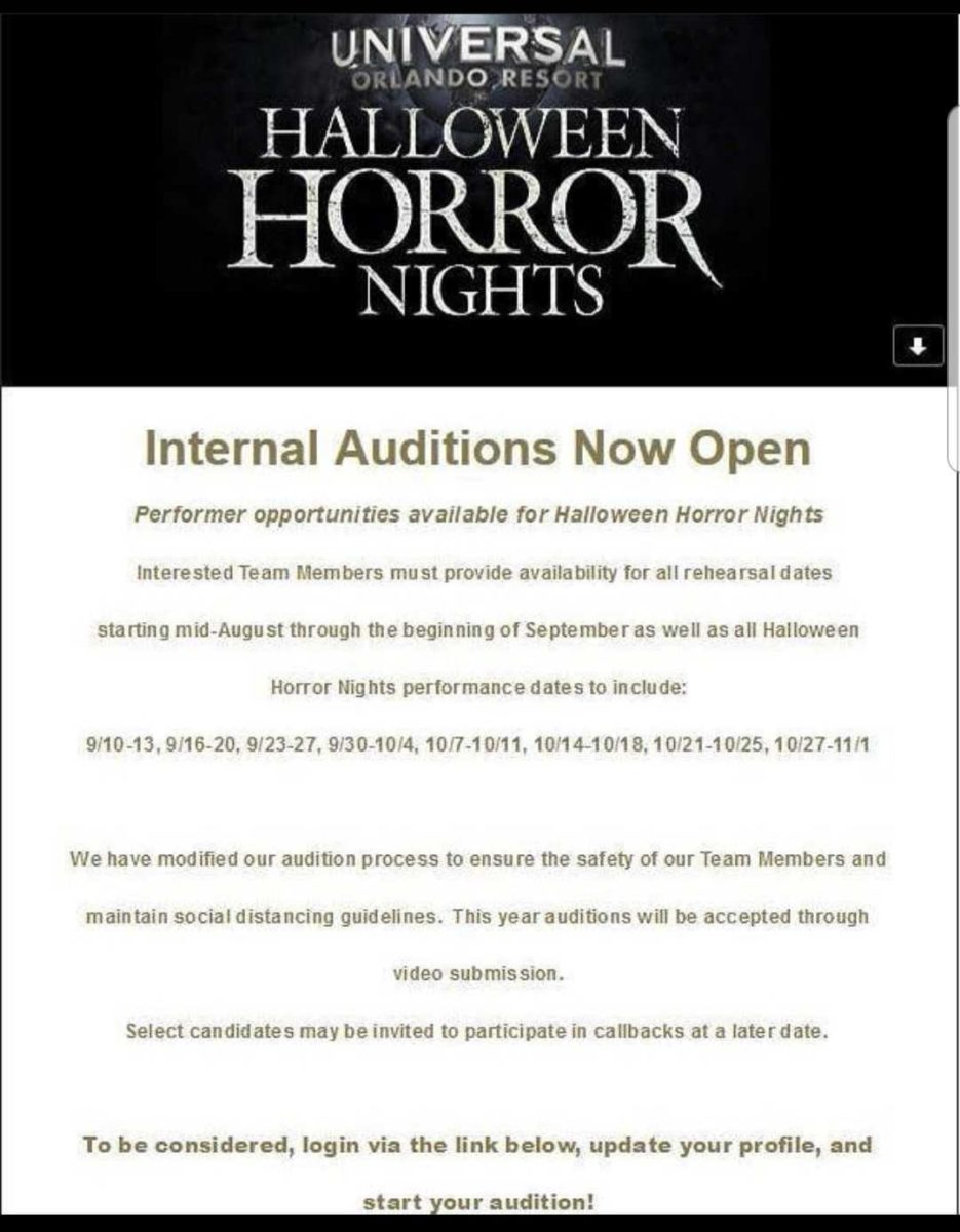 Auditions Halloween 2020 Universal Orlando Posts Internal Auditions for Halloween Horror