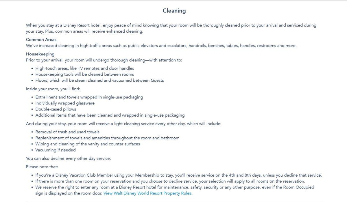 covid19 cleaning policy walt disney world resort