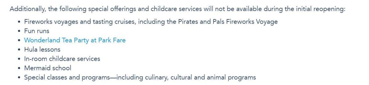 resort special offerings childcare Walt Disney World Resort reopening COVID-19