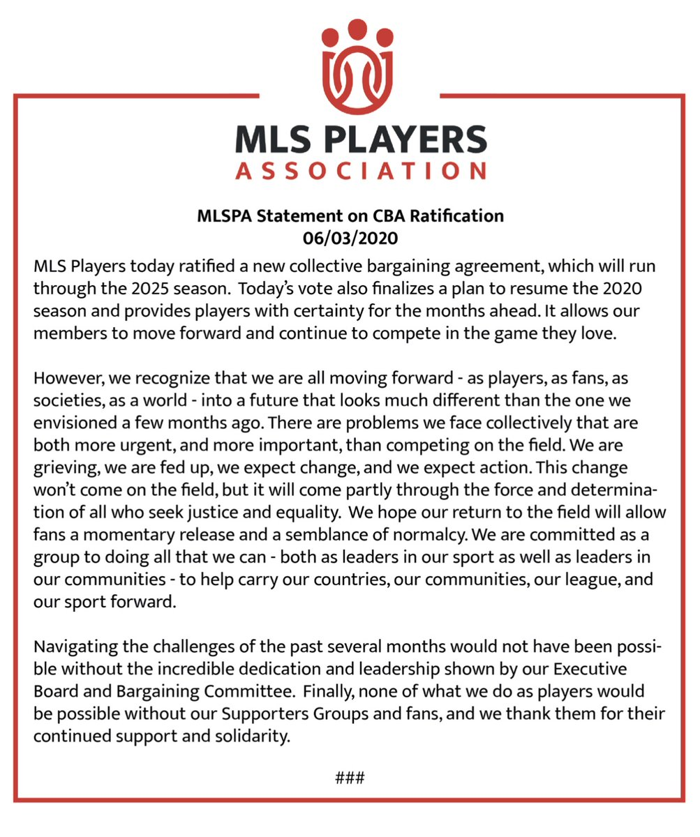 MLS, players reach new labor deal, will resume season with tournament