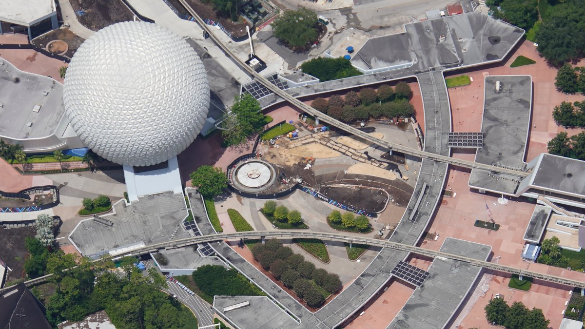 EPCOT constriction Future World aerial view July_2