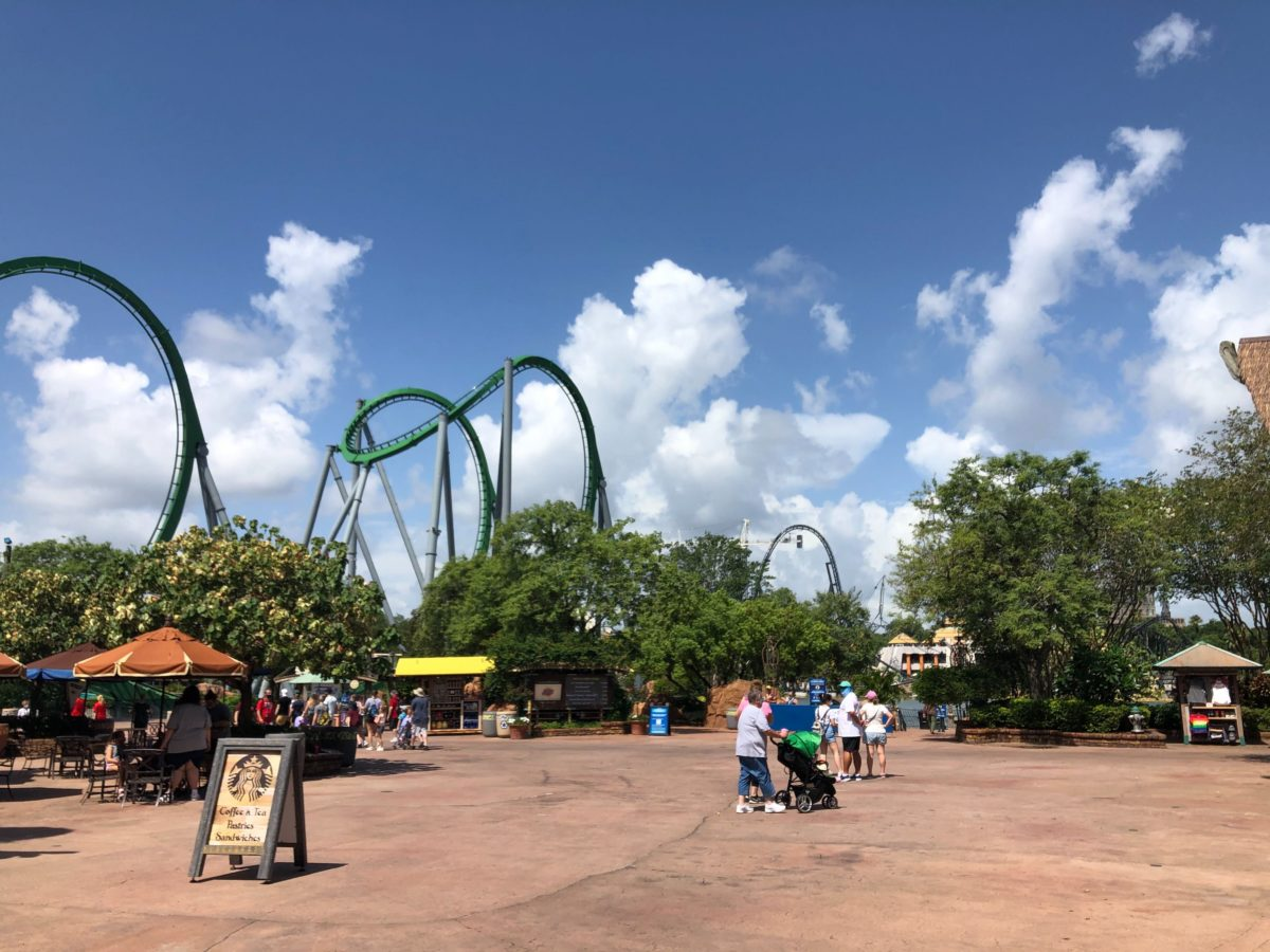 Hulk Coaster and Velocicoaster as seen from Islands of Adventure Entrance