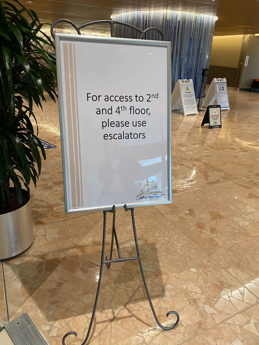 Stairwell and Escalator Access Encouraged at Disney's Contemporary Resort to Alleviate Wait Times for Lobby Elevators