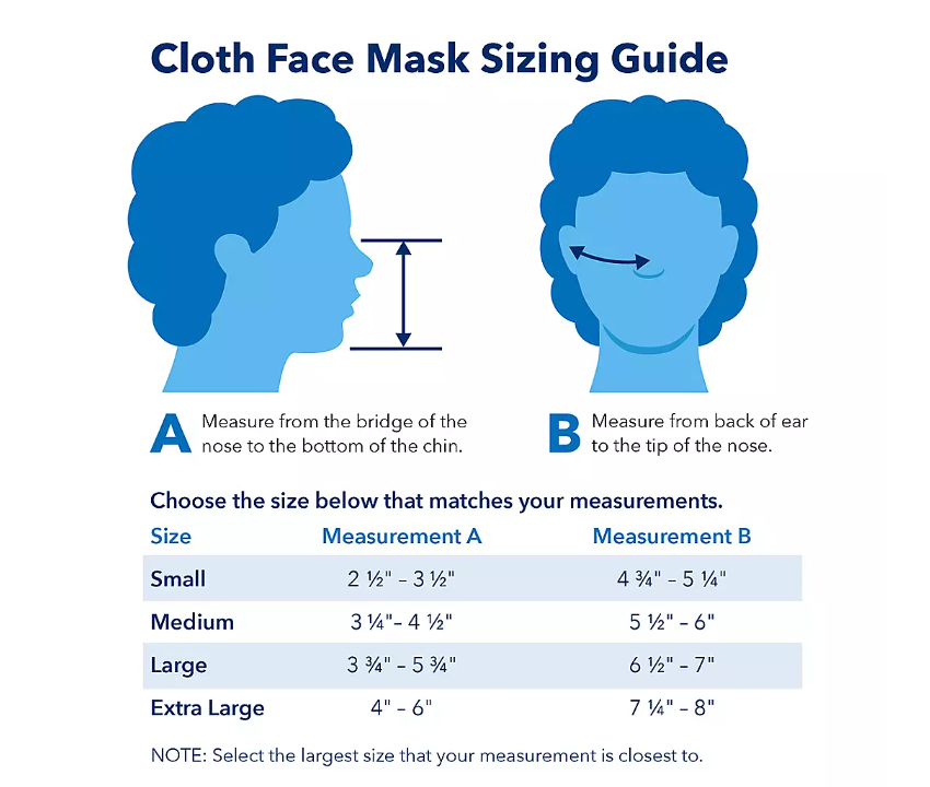 face masks sizing guide