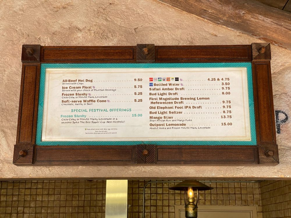 refreshment outpost menu and bee sipper