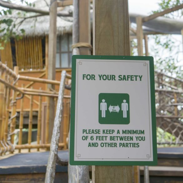 swiss family robinson treehouse social distance sign